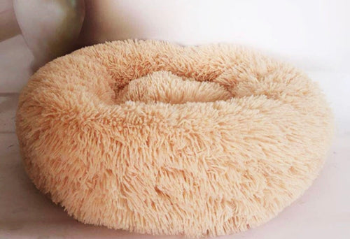 Soft Plush Round Doughnut Dog Bed. Thick and Luxurious Apricot