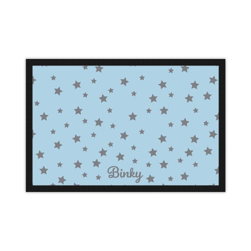 'Just for You' Personalised Pet Mat in Pastel Blue with Grey Stars and Dogs name