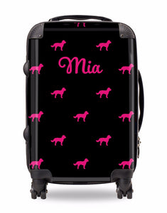 Personalised Suitcase Black with Hot Pink Dog Breed Silhouette Option