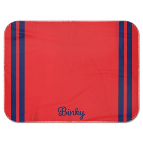 Personalised Fleece Blanket in Red with Navy Stripes and Dog Name