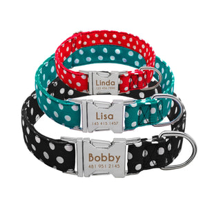 Personalised Polka Dot Fabric Design Dog Collar With Engraved Nameplate