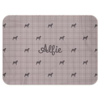 Personalised Fleece Blanket in Stone Beige with Silhouette of your Dog and his or her name
