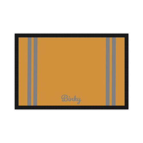 'Just for You' Personalised Pet Mat in Mustard with Grey Stripes and Dogs name
