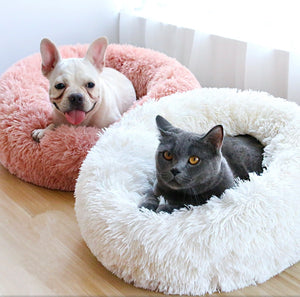 Soft Plush Round Doughnut Dog Bed. Thick and Luxurious Charcoal Grey