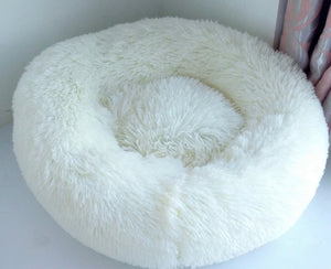 Soft Plush Round Doughnut Dog Bed. Thick and Luxurious White