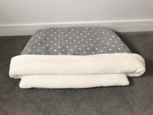 Snuggle Pouch Grey with White Polka Dot