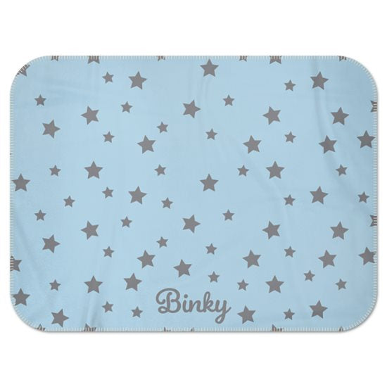 Personalised Fleece Blanket in Blue with Grey Stars and Dog Name