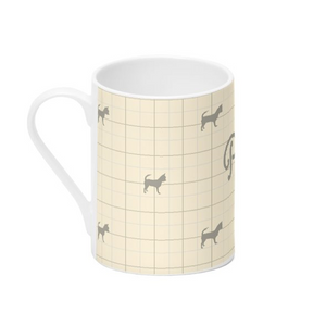 Personalised Dorset Cream Bone China Mug with Silhouette of your Dog and his or her name Handmade in the UK
