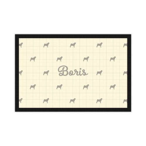 'Just for You' Personalised Pet Mat in Dorset Cream with Silhouette of your Dog and his or her name