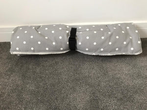 Travel Bed Grey with White Polka Dot