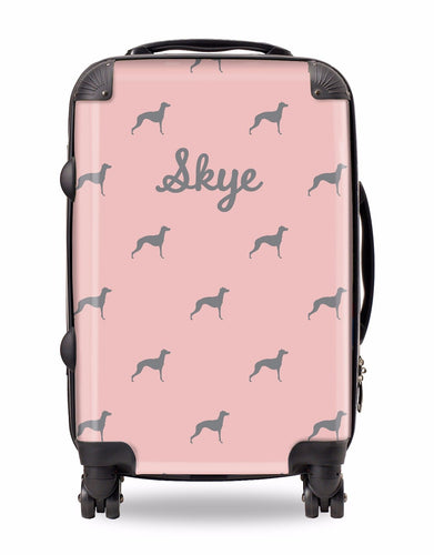 Personalised Suitcase Pink with Pale Grey Dog Breed Silhouette Option