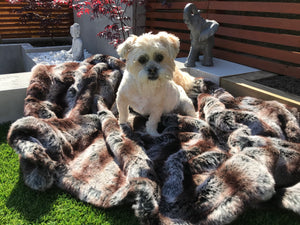 Sumptuous Contrasting Faux Fur Throw Mink and Brown
