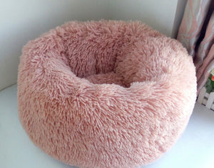 Soft Plush Round Doughnut Dog Bed. Thick and Luxurious Nude Pink