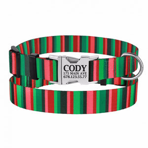 Personalised Handcrafted Funky Woven Fabric Collar-Red and Green
