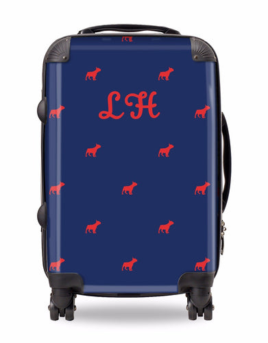 Personalised Suitcase Navy with Red Dog Breed Silhouette Option