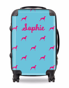 Personalised Suitcase Bright Blue with Hot Pink Dog Breed Silhouette Option