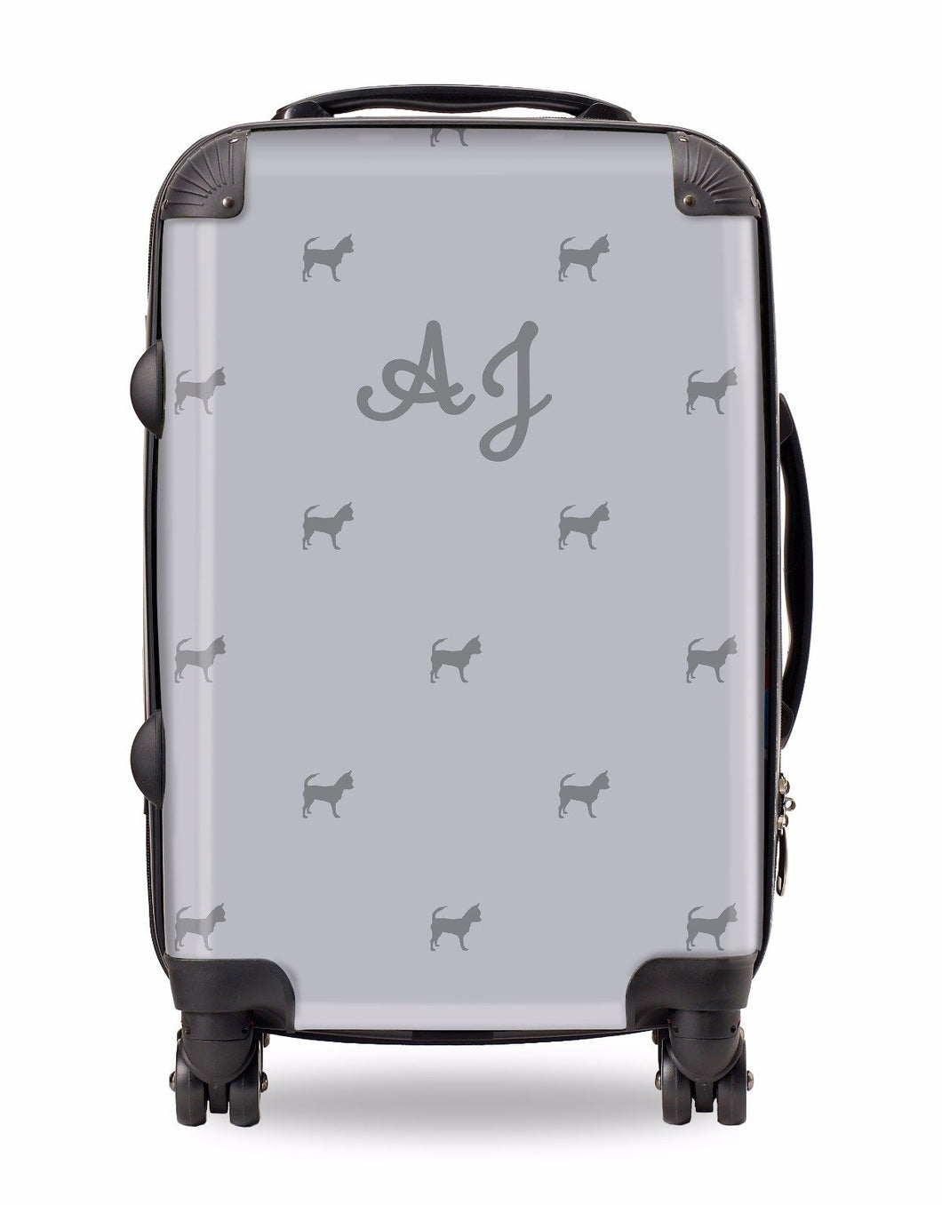 Personalised Suitcase Pale Grey with Charcoal Dog Breed Silhouette Option
