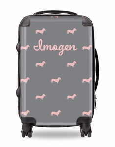 Personalised Suitcase Grey with Pink Dog Breed Silhouette Option