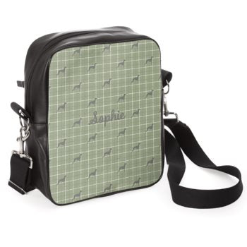 'All Your Essentials' Walk Out Bag in Willow Green with Breed of Dog Silhouette and Name Handcrafted in the UK