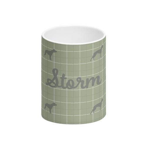 Personalised Willow Green Bone China Mug with Silhouette of your Dog and his or her name Handmade in the UK