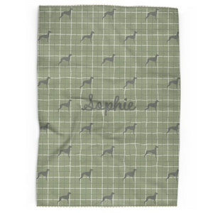 Personalised Tea Towel in Willow Green with Silhouette of your Dog and his or her name