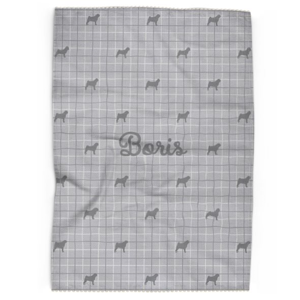 Personalised Tea Towel in French Grey with Silhouette of your Dog and his or her name
