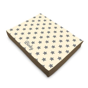 Personalised Luxury Dog Bed in Cream with Grey Stars