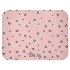 Personalised Fleece Blanket in Pink with Grey Stars and Dog Name