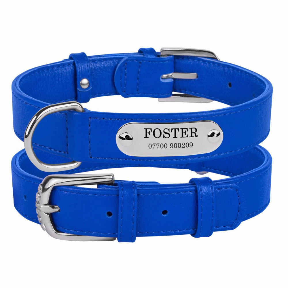 Personalised Handcrafted Blue Genuine Leather Dog Collar