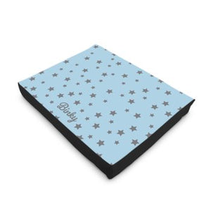 Personalised Luxury Dog Bed in Blue with Grey Stars