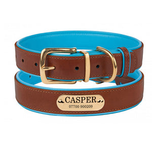 Personalised Handcrafted Genuine Leather Collar With Brass Buckle and Name Plate - Cyan Blue