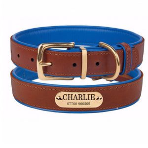 Personalised Handcrafted Genuine Leather Collar With Brass Buckle and Name Plate - Blue