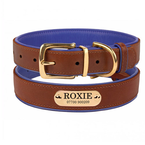 Personalised Handcrafted Genuine Leather Collar With Brass Buckle and Name Plate - Purple