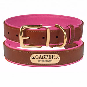 Personalised Handcrafted Genuine Leather Collar With Brass Buckle and Name Plate - Pink
