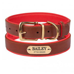 Personalised Handcrafted Genuine Leather Collar With Brass Buckle and Name Plate - Red
