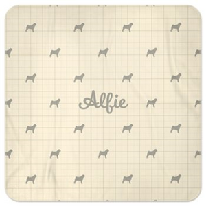Personalised Fleece Blanket in Dorset Cream with Silhouette of your dog and his or her name