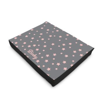 Personalised Luxury Dog Bed in Grey with Pink Stars