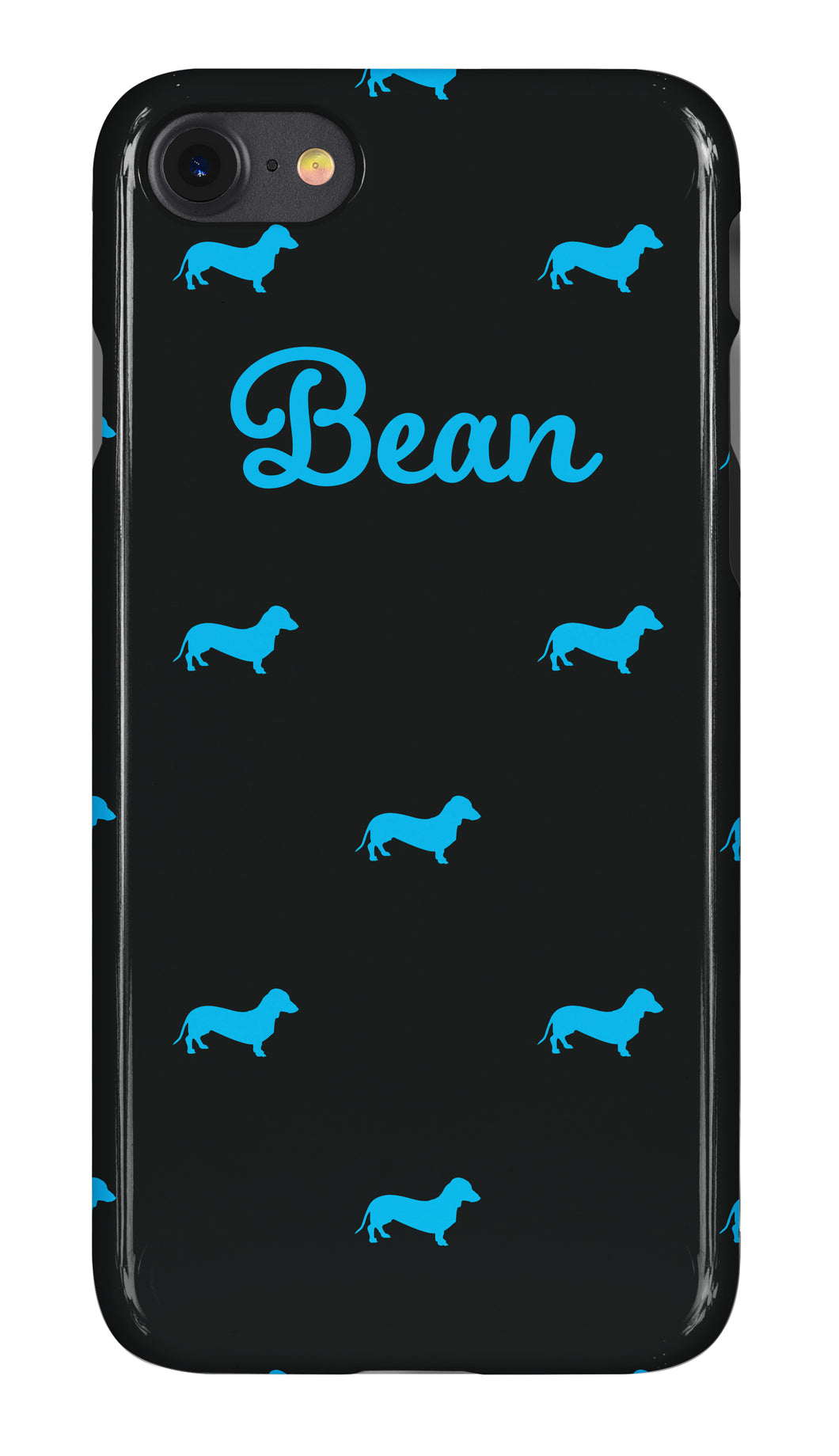Personalised Phone Case Gloss Black with Cyan Dog Breed Silhouette Option