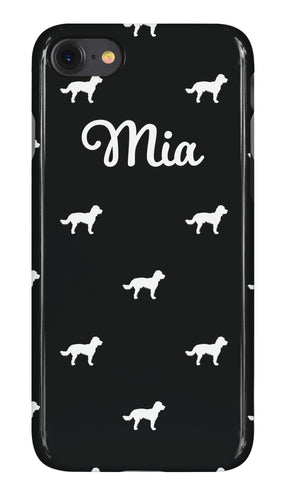 Personalised Phone Case Gloss Black with White Dog Breed Silhouette Option