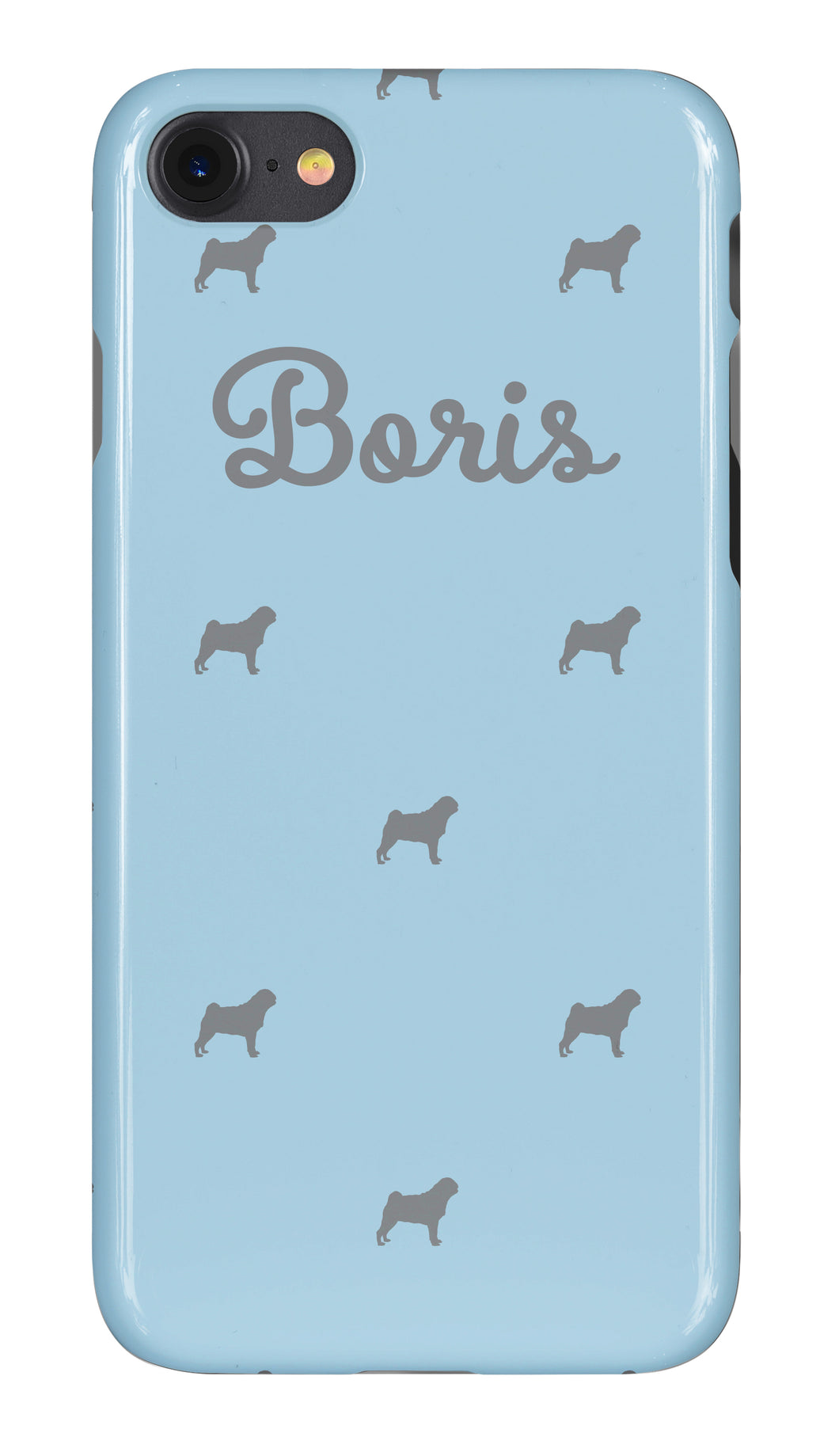 Personalised Phone Case Pale Blue with Grey Dog Breed Silhouette Option