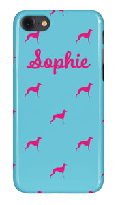Personalised Phone Case Bright Blue with Hot Pink Dog Breed Silhouette Option