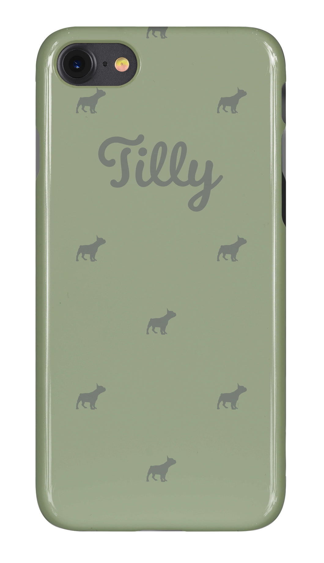 Personalised Phone Case Green with Grey Dog Breed Silhouette Option