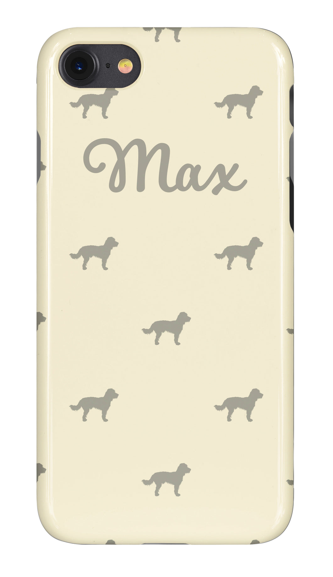 Personalised Phone Case Cream with Grey Dog Breed Silhouette Option