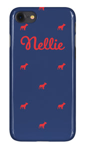 Personalised Phone Case Navy with Red Dog Breed Silhouette Option