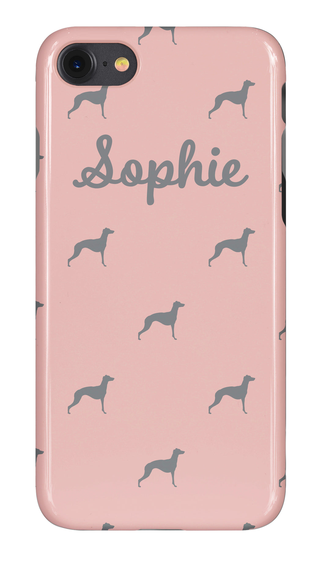 Personalised Phone Case Pink with Pale Grey Dog Breed Silhouette Option