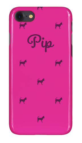 Personalised Phone Case Gloss Hot Pink with Maroon Dog Breed Silhouette Option