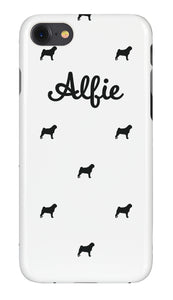 Personalised Phone Case White with Black Dog Breed Silhouette Option