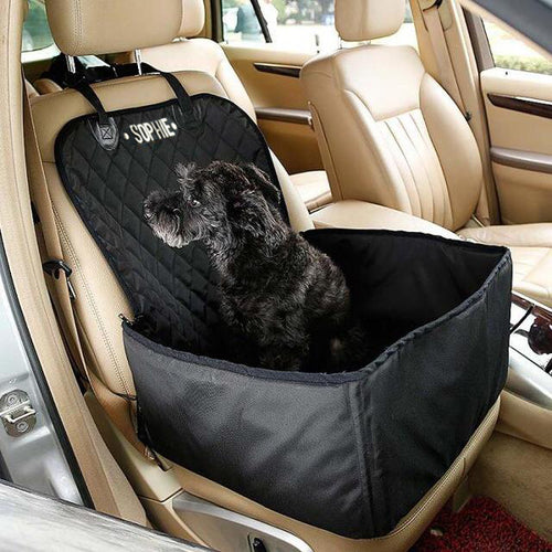 Personalised 2 in 1 Dog Car Carrier and Seat Protector Black