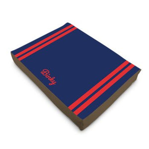 Personalised Luxury Dog Bed in Navy with Red Stripes