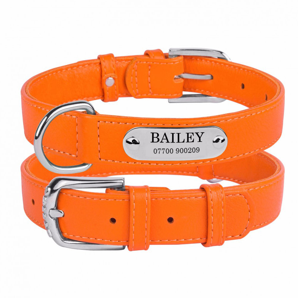 Personalised Handcrafted Orange Genuine Leather Dog Collar